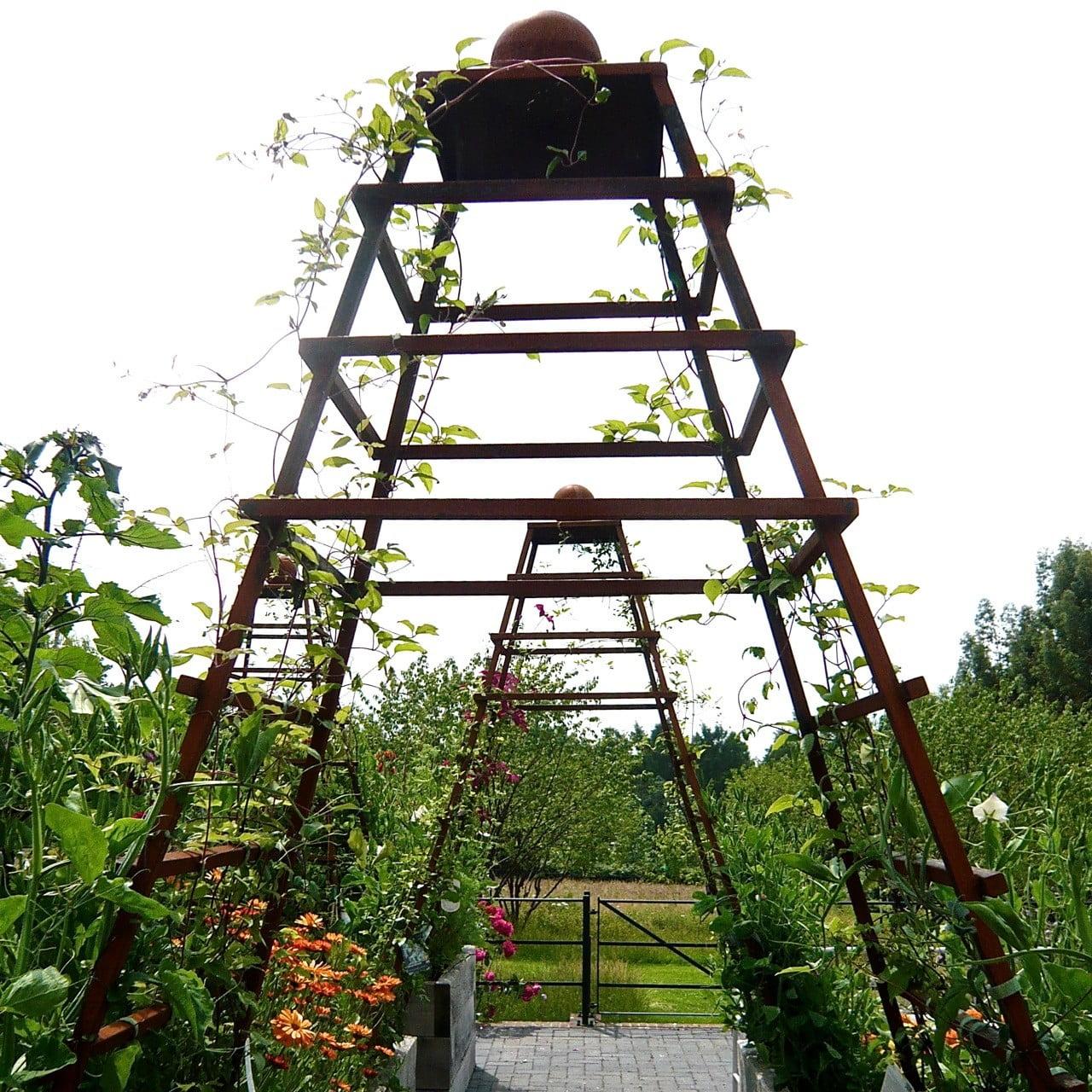 Bespoke obelisks in the kitchen garden