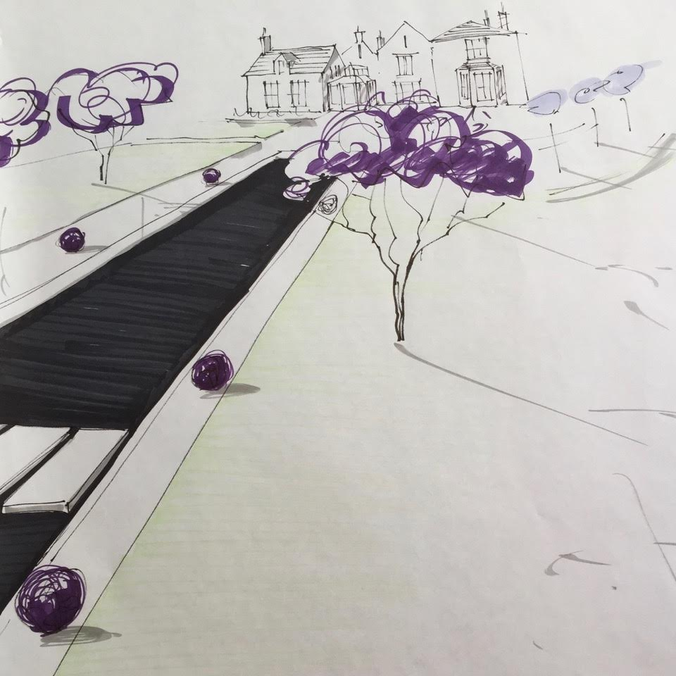 This s a sketch of a contemporary garden design for a large garden in Northamptonshire