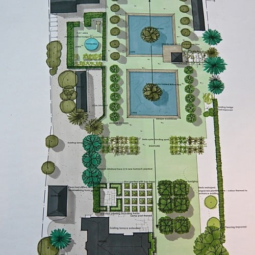 This is my drawing for a large country garden near henley on thames. Two large pools with a summerhouse, parterres, lavender & pleached trees plus room for a helicopter! A lovely project to work on.