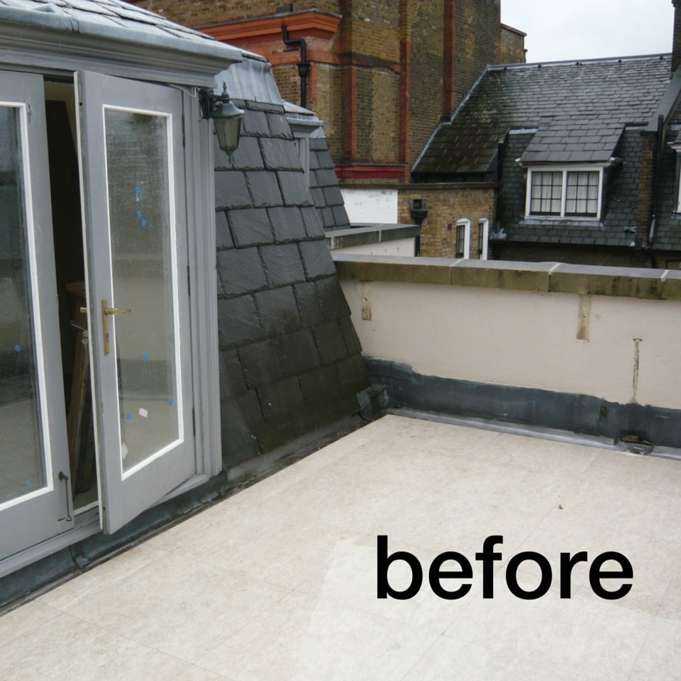 The before picture of a bijoux penthouse terrace on Cheyne Walk