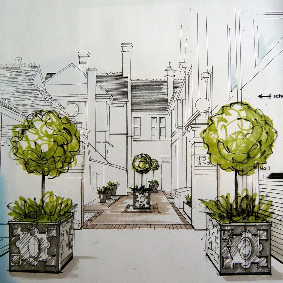 Here is my drawing for the courtyard scheme at the large shared Victorian courtyard