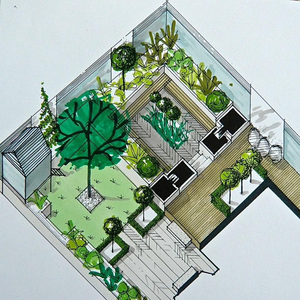 This is my axonometric drawing for a small but very smart town garden with inset seats, two cascading water features & space for the children to play too