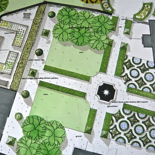 This is my plan drawing for a large walled garden with French stone fountain & knot garden near Henley on Thames