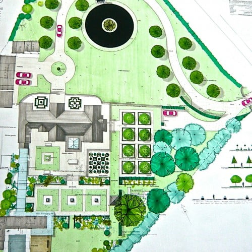 This is my plan drawing for a very smart family garden around a manor house in Northamptonshire. Classic formal styling to suit the house but a children's play area is included too.