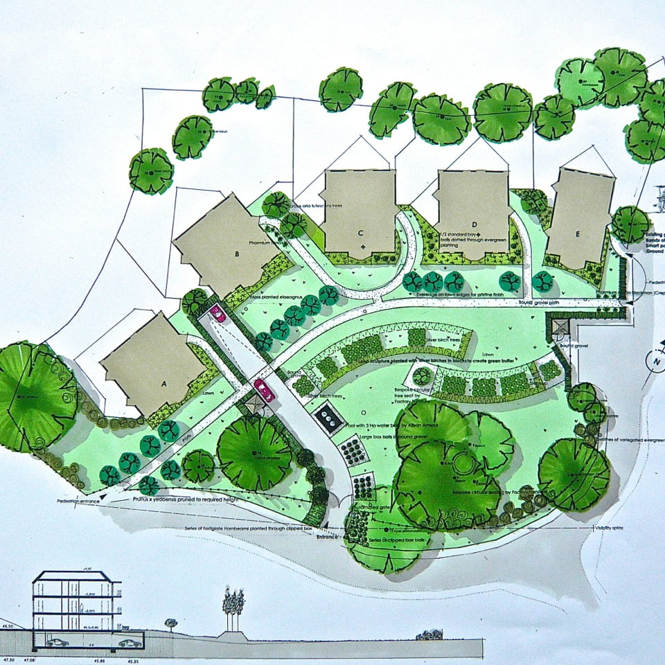 This is my original plan drawing for the public spaces around 5 blocks of flats in Gerrards Cross