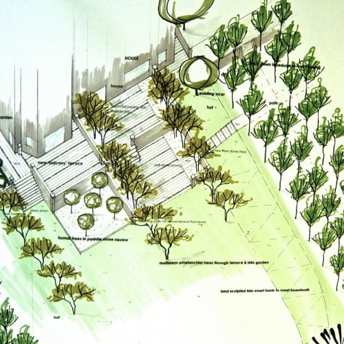 This is a design for a series of terraces down a sloping large garden for my client in Buckinghamshire. I suggested trees planted through the paved terraces of this south facing garden to soften them & provide some dappled shade