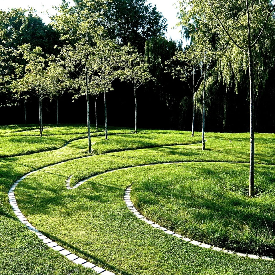 Swirling mown path with granite setts by Jo Alderson Phillips & built by Rob Jones of The Garden Design Co Ltd
