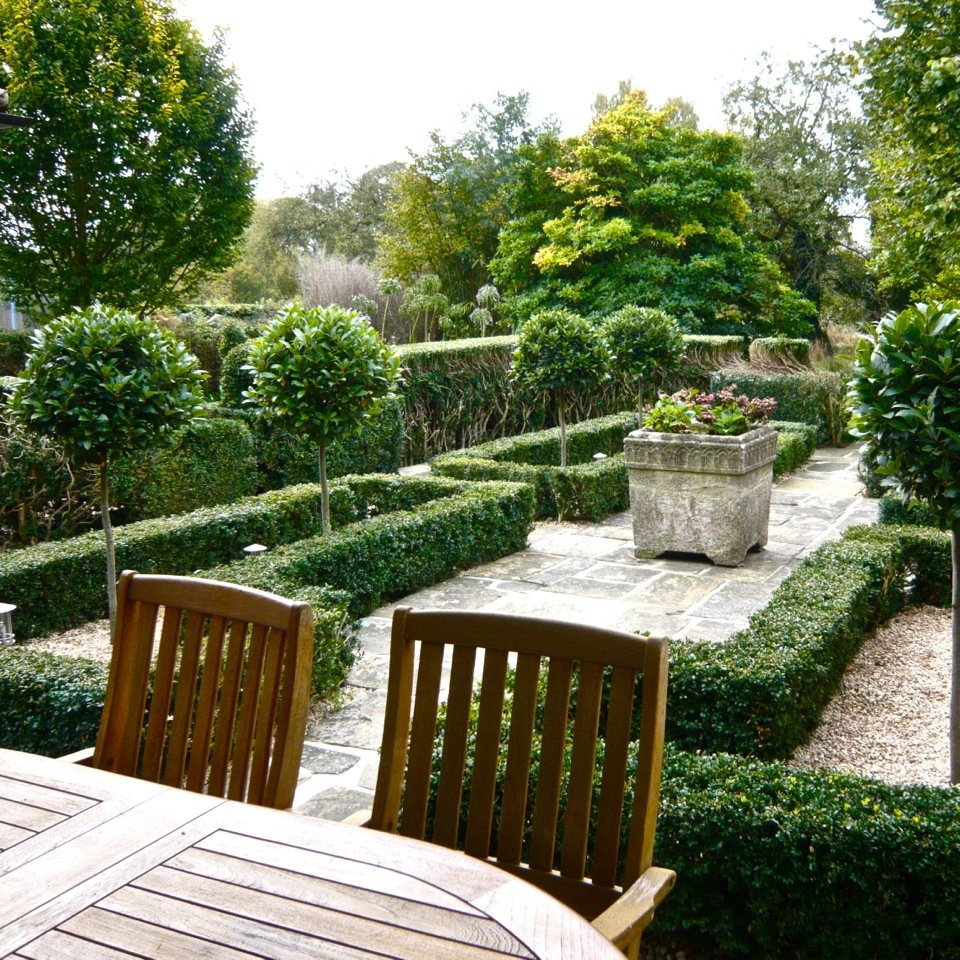 A restored parterre in a courtyard in Henley on Thames