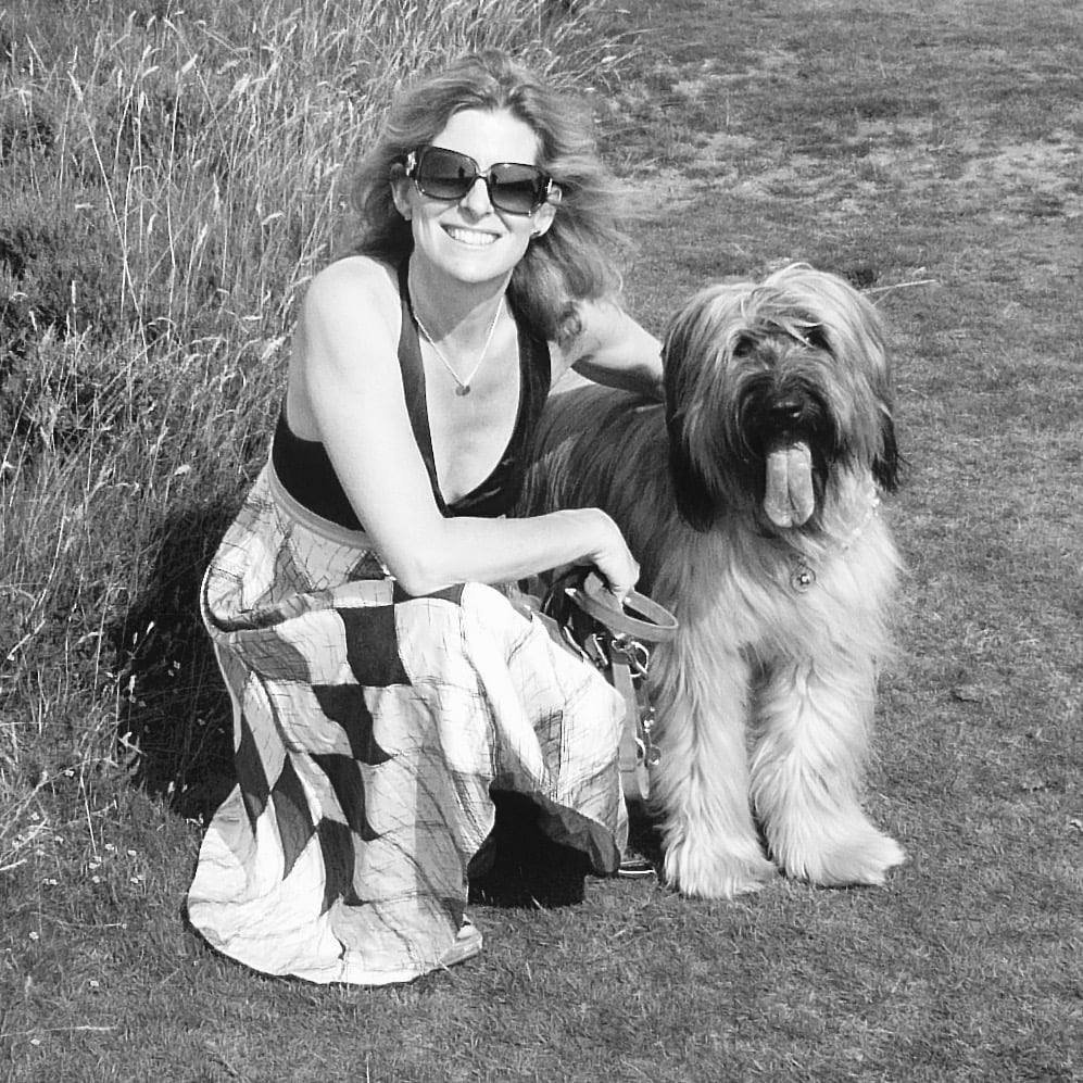 Jo Alderson Phillips Award winning garden designer with Charlie her beautiful Briard