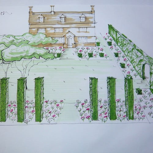 This is my sketch for the front garden of a Cotswold farmhouse. Lots of pretty flowers with topiary cubes & columns for structure