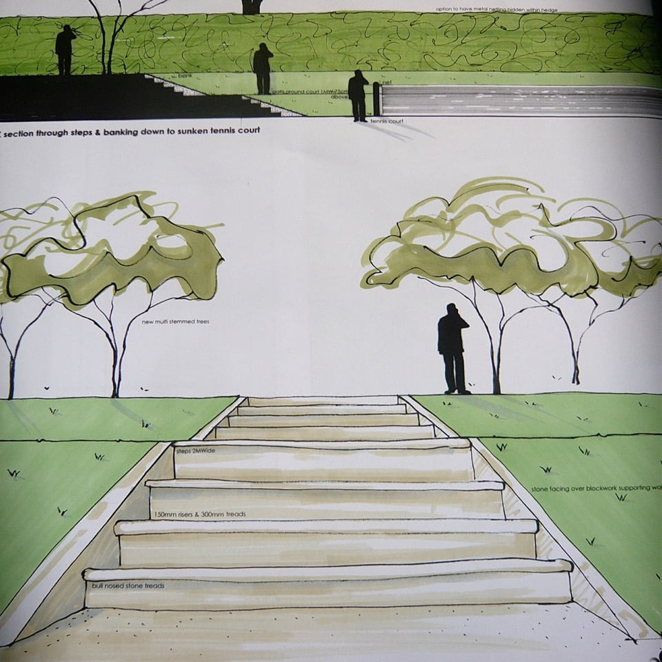 My drawings for inbuilt steps down to a sunken tennis court for this large Cotswold garden