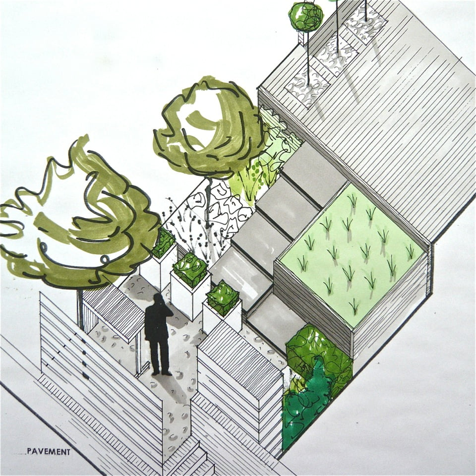 Here is my axonometric drawing for a small contemporary town garden in Henley on Thames