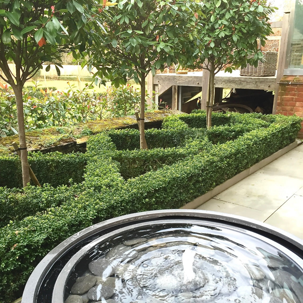 Our small knot garden & water feature here in newbury