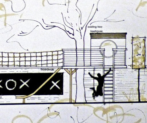 Here's my drawing for a treehouse & walkway for this Oxford town garden. Love doing these!