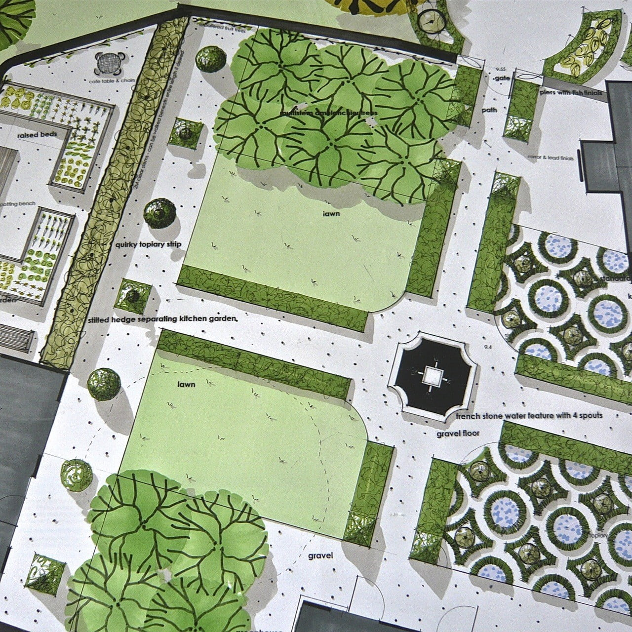 This is my plan drawing for a French style walled garden near Henley on Thames