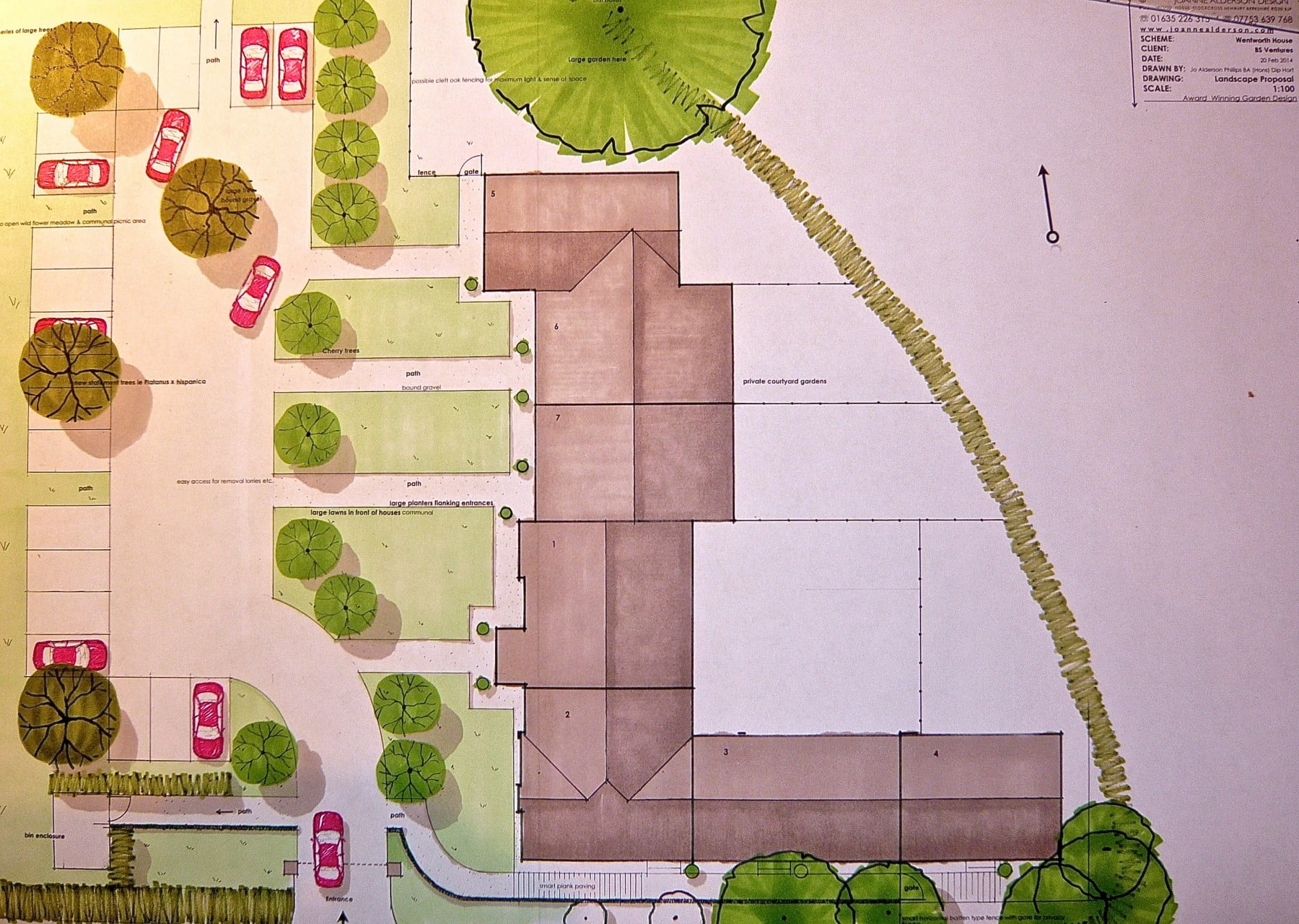 This is my drawing for a commercial project showing the front gardens & parking area for the development in Wargrave near Henley on Thames