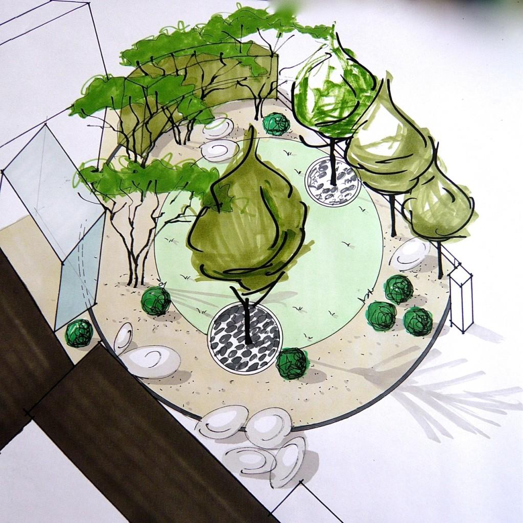 Axonometric sketch Norfolk coastal style front garden www.joannealderson.com