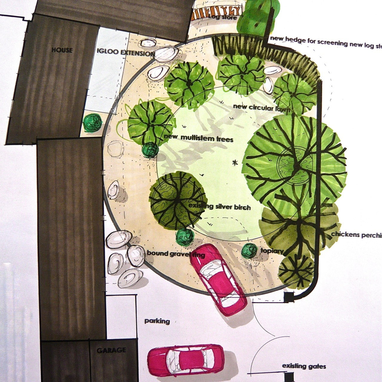 This is my plan drawing for a contemporary front garden in a coastal style in Norfolk