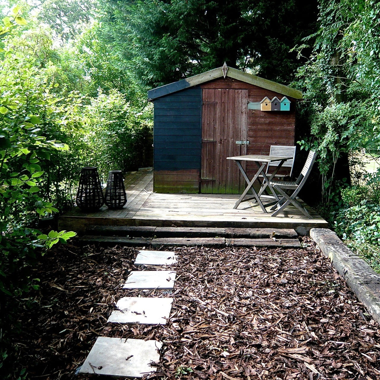 Our shed undergoing a transformation from shabby to smart - half way there!