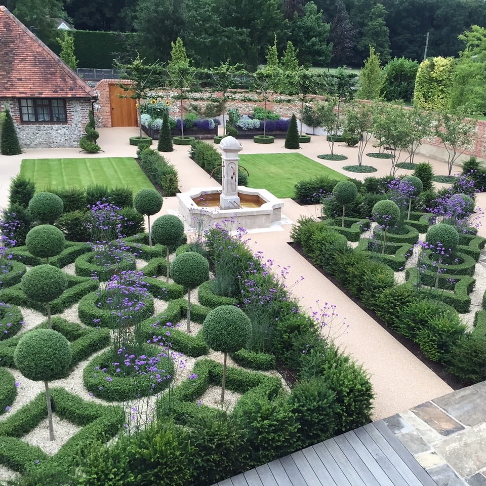 This is the french fountain & knot garden in the walled garden I designed for my clients near henley on thames