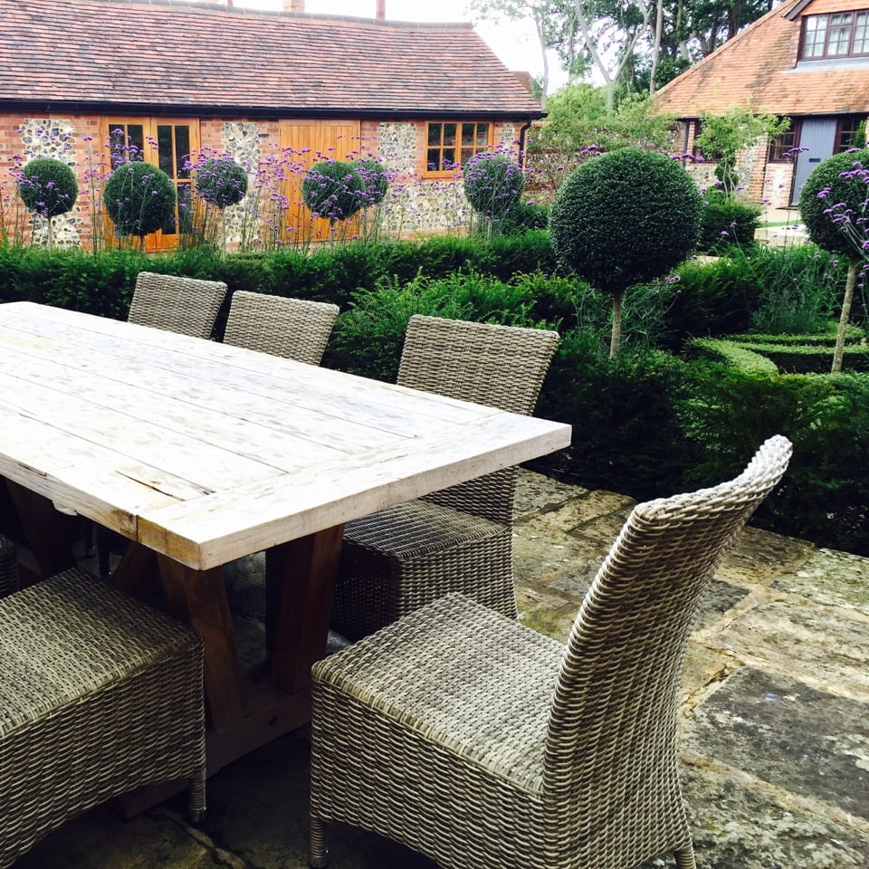 This is the dining area overlooking the lot garden I designed near henley on thames