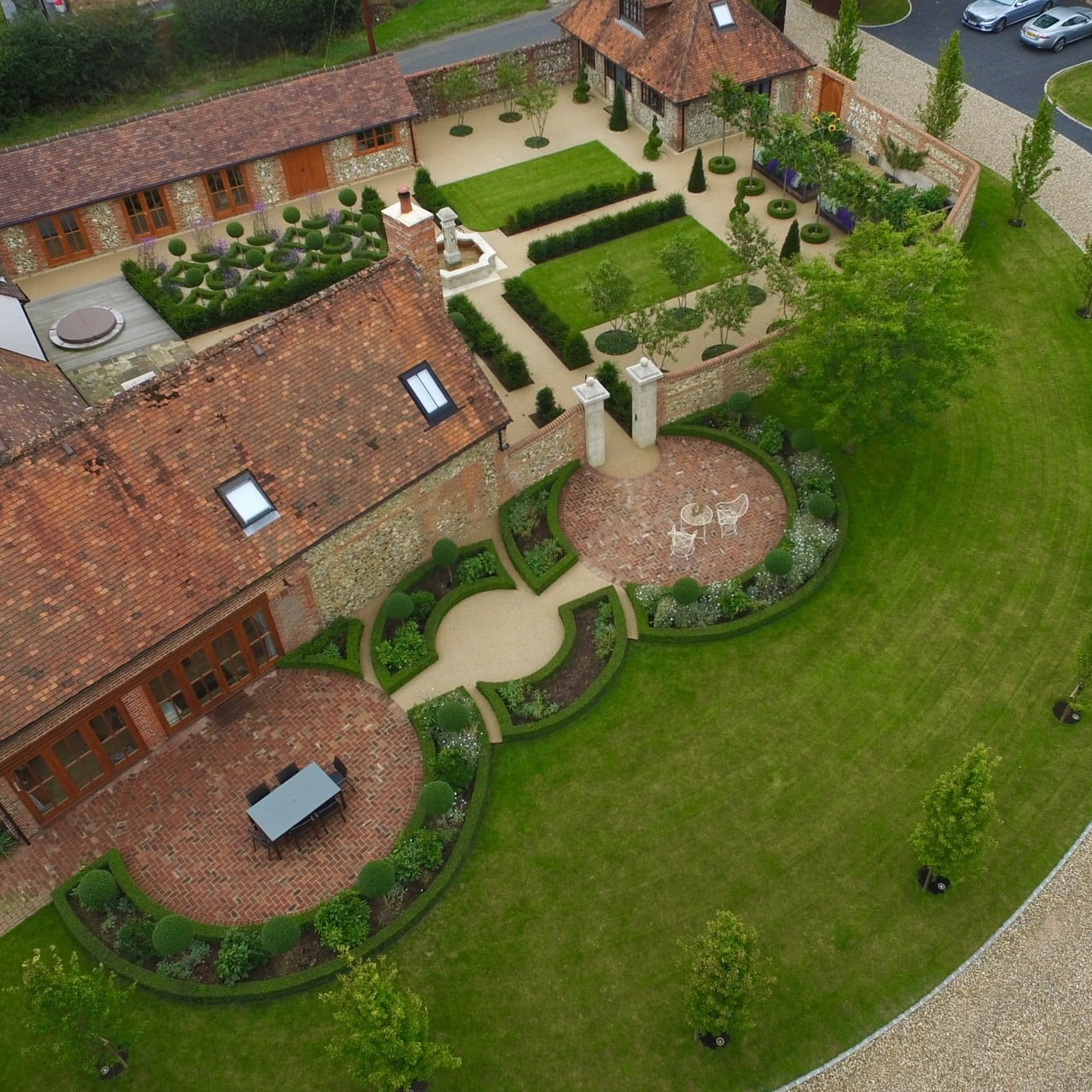 Birds eye view of the walled garden near henley on thames