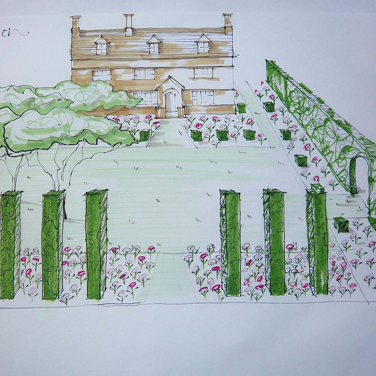 Traditional front garden design for a Cotswold farm by Joanne Alderson Design