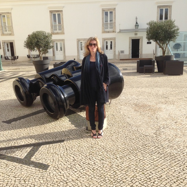 Jo Alderson Phillips in Portugal admiring the stone paving - read the blog