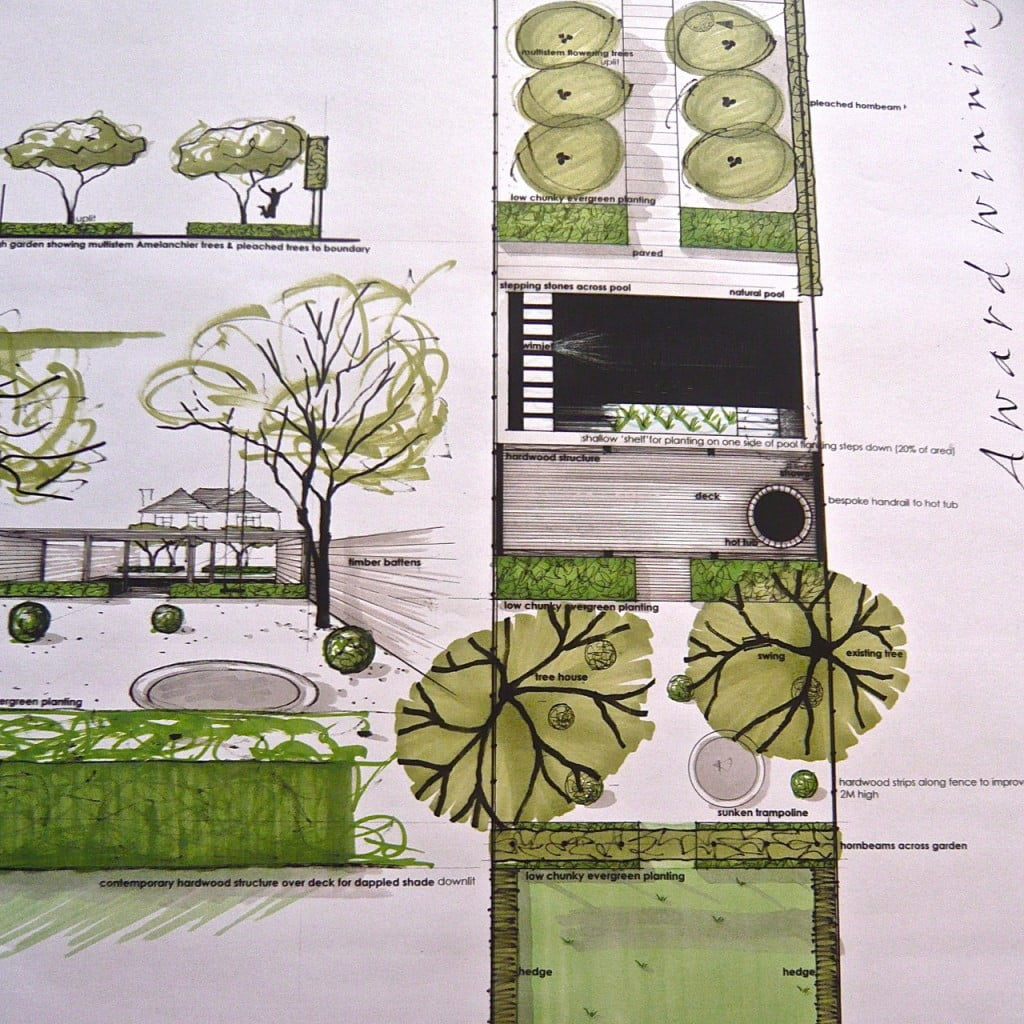 This is one of my drawings for a contemporary town garden in Wokingham. There is a swimming pool, contemporary hardwood structure for shade & lounging & very simple planting for a minimal appearance