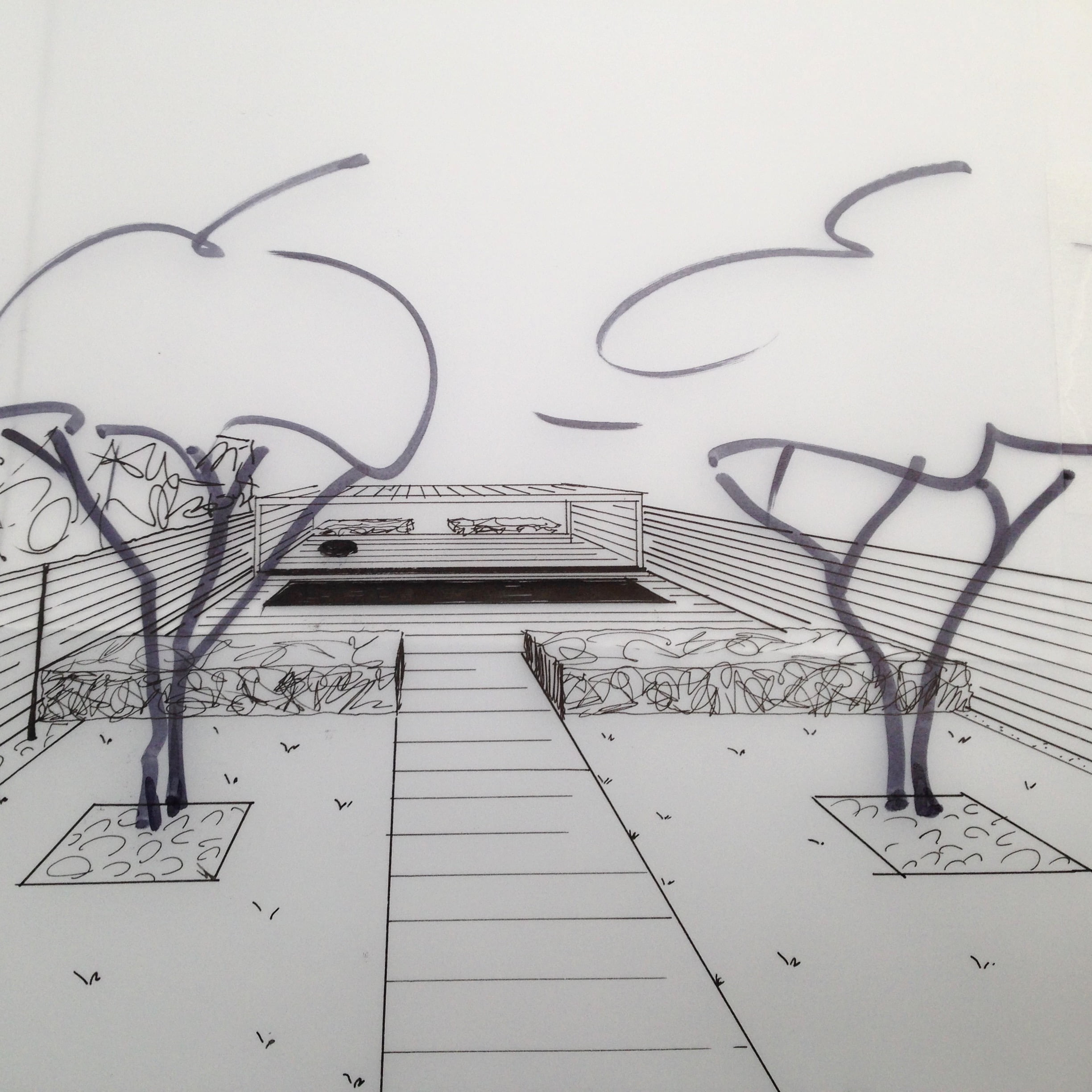 this is my original 3d style drawing of this contemporary garden with swimming pool & modern styling