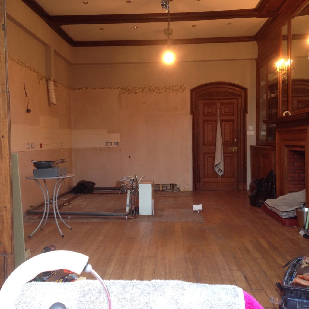You can see here our our kitchen once the old one has been ripped out
