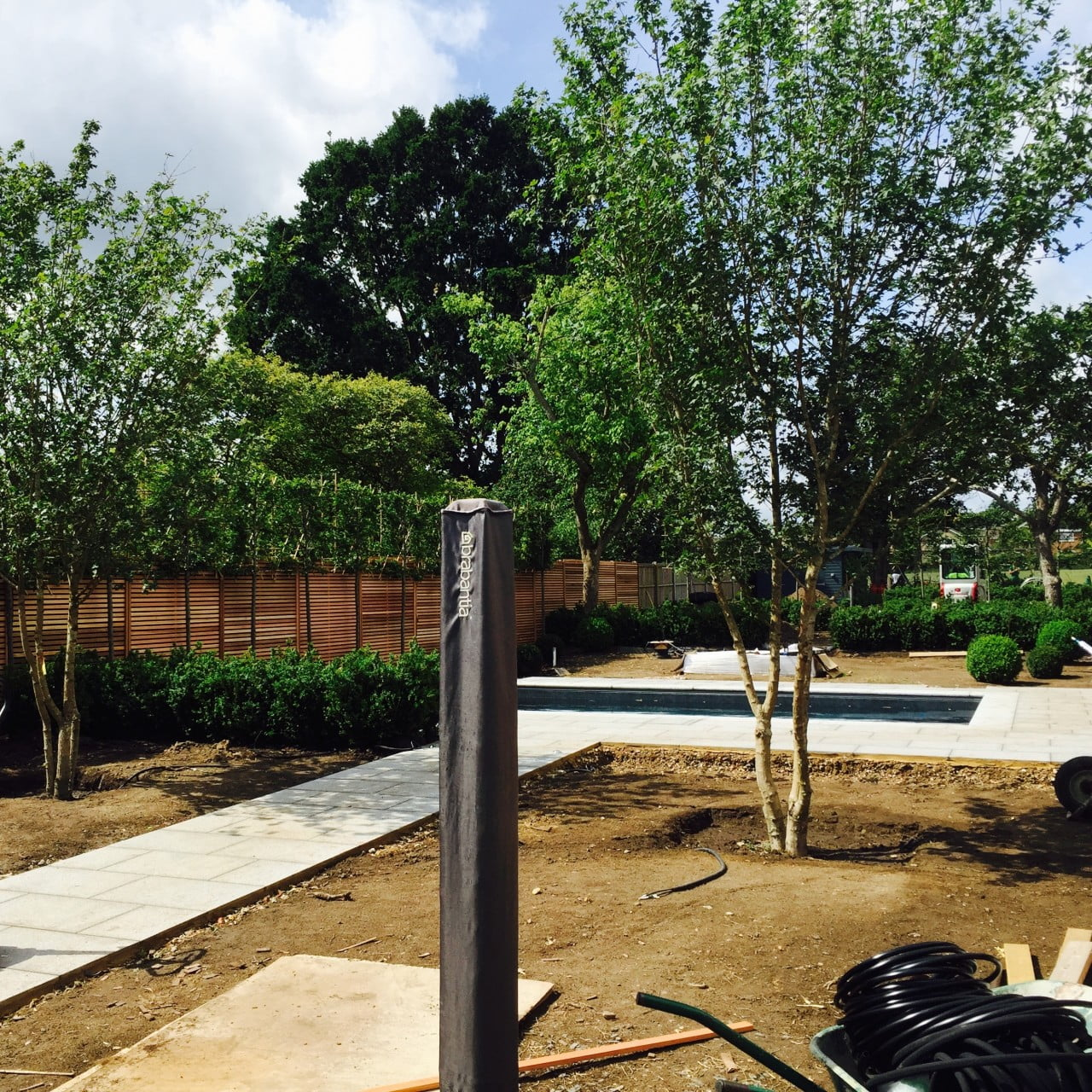 Work in progress in this modern garden design I created in Wokingham. These 2 multistemmed trees give a sense of height & maturity to what was once a blank canvas