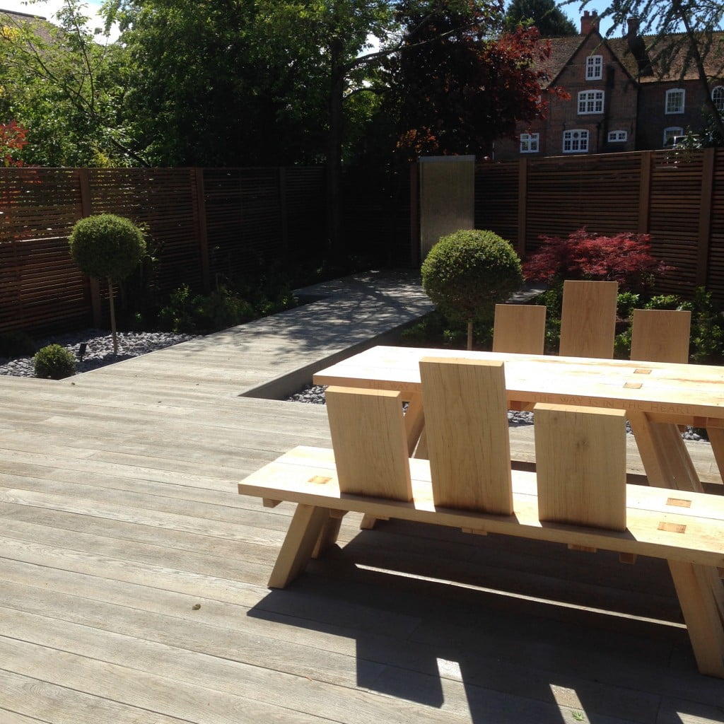 The shows the lovely Millboard deck & boardwalk with water wall