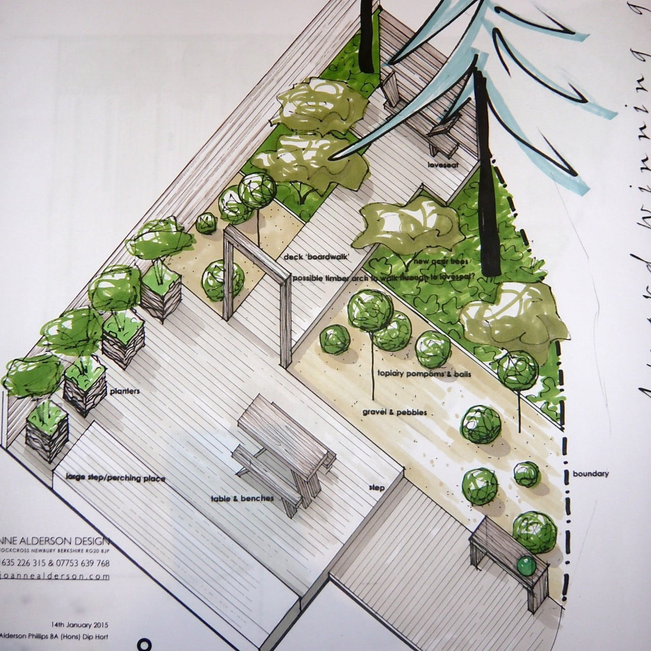 MY axonometric drawing of the modern garden I designed for this small courtyard