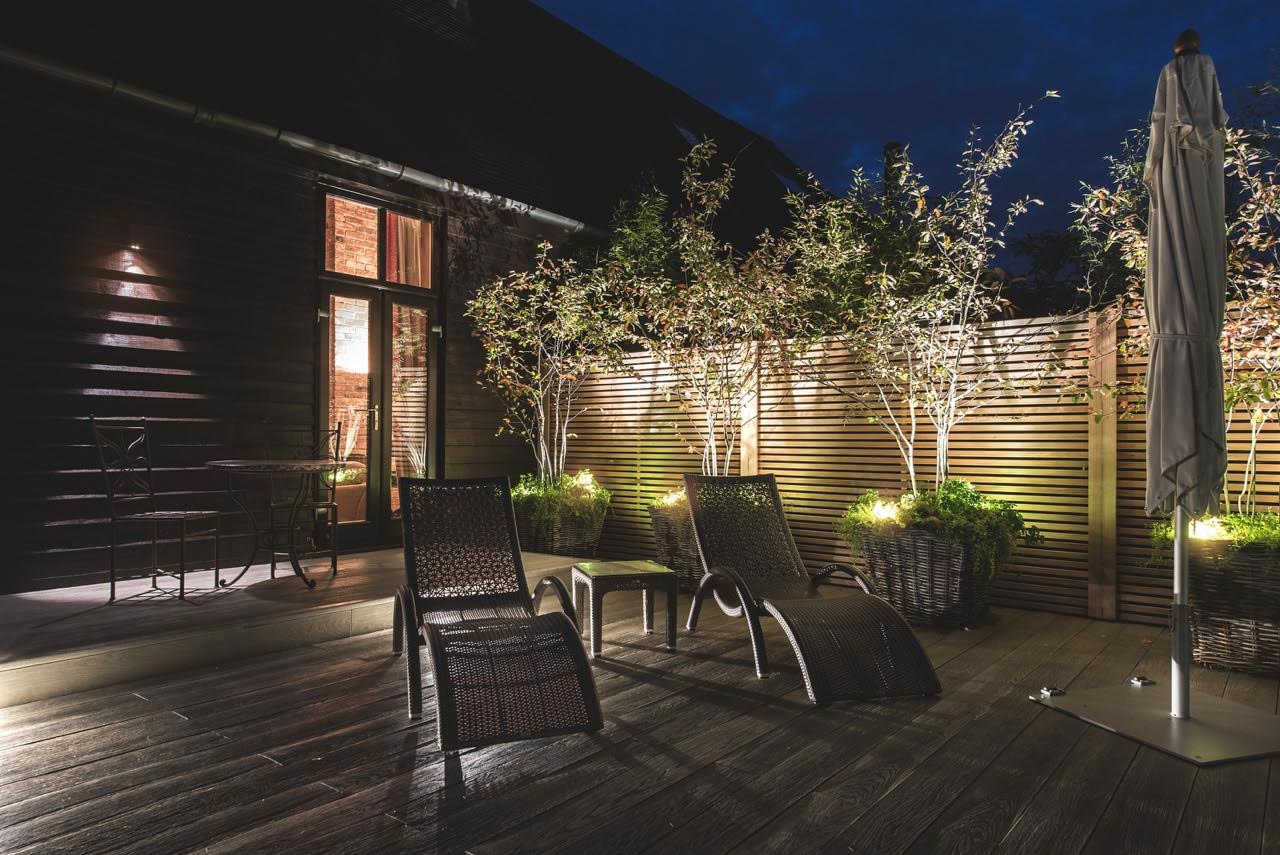 Night time lighting for this modern garden design