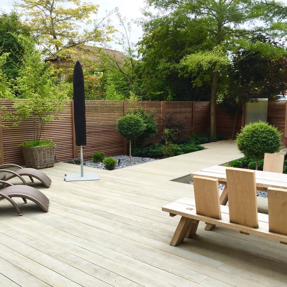 Millboard decking was used as a non slip easy care courtyard garden
