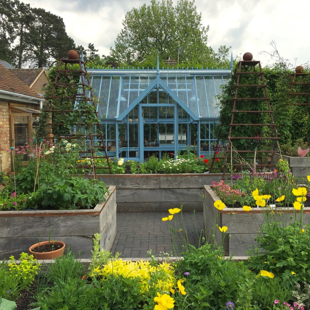 This is my client Janes' kitchen garden with new blue greenhouse