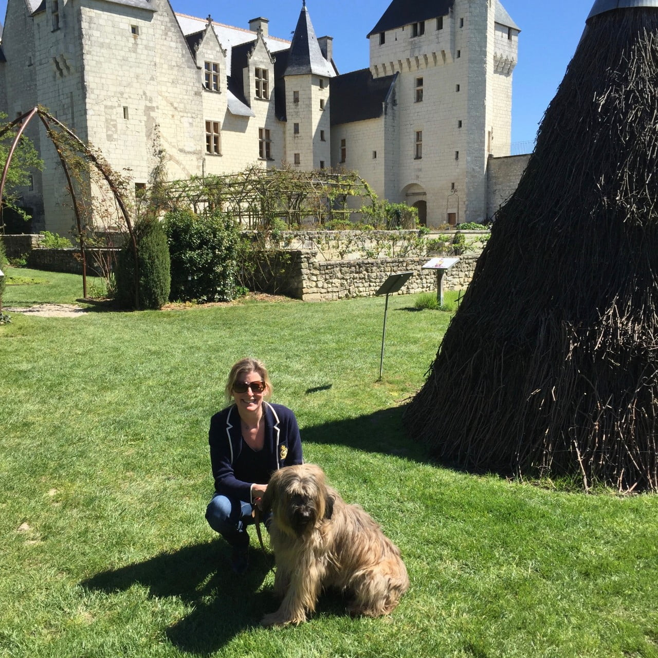 This is me & my dog Charlie in a beautiful chateau garden in the Loire