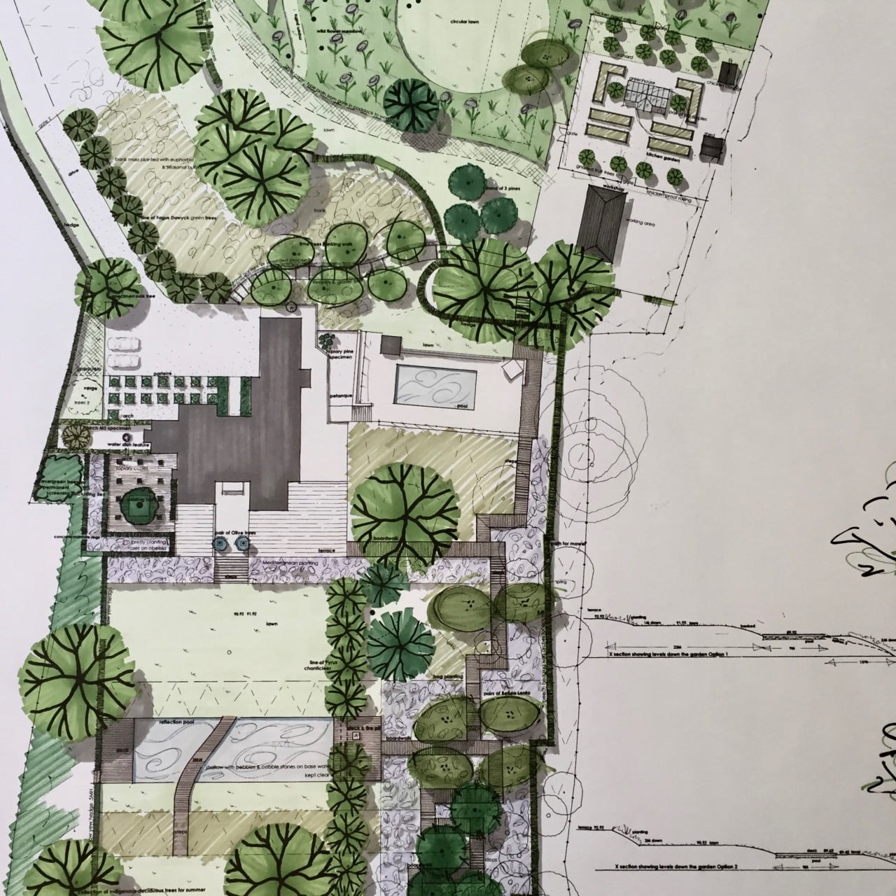This is my drawing for a large sloping garden in Berkhamstead. It is a contemporary garden with reflection pool & boardwalk.