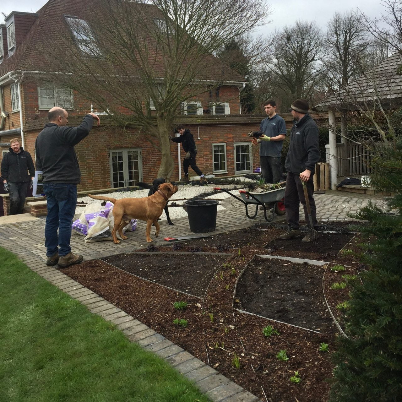 Work underway creating a contemporary gravel garden in Buckinghamshire