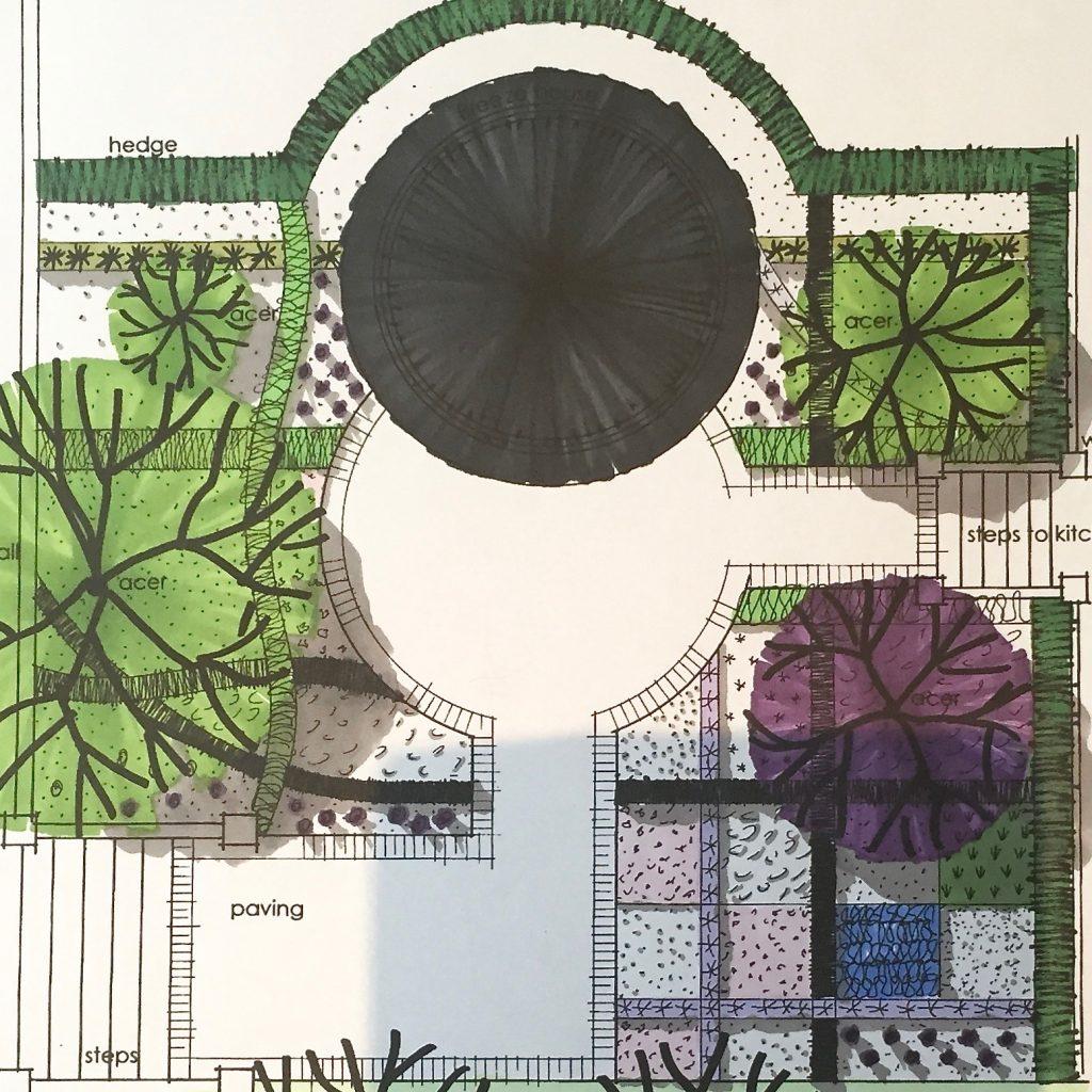 a contemporary modern garden design for a small garden