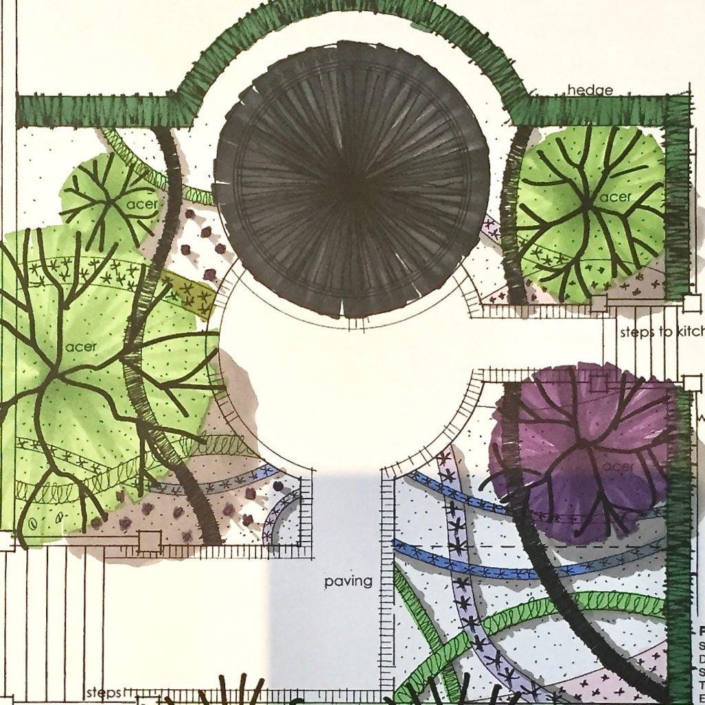 A contemporary design for a small modern courtyard in a Buckinghamshire gravel garden