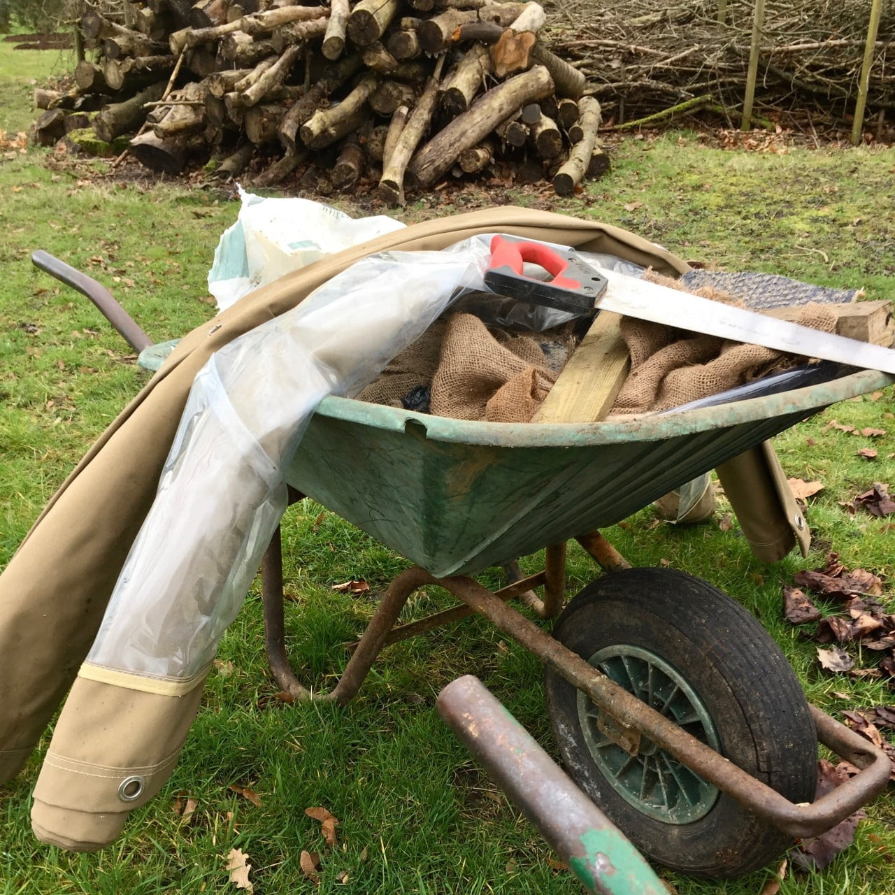 A new garden design being built in Buckinghamshire. This wheelbarrow will e recycling for a woodland garden & homes for bugs
