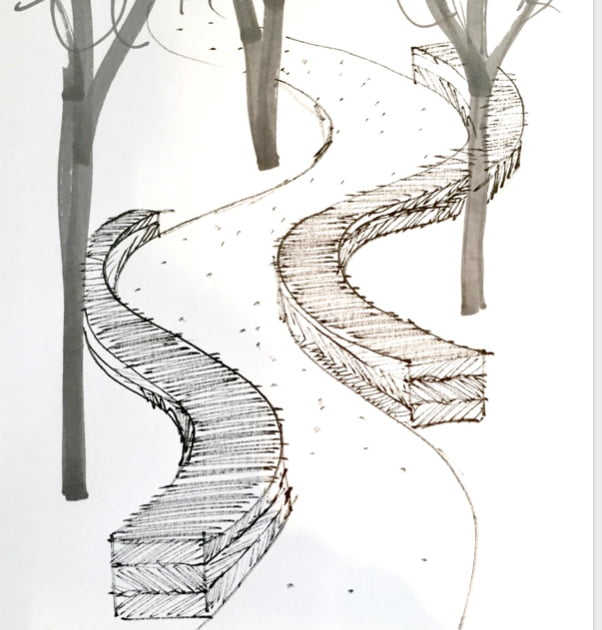 Drawing by Jo Alderson Phillips of woven garden seating in willow flanking pathways in a woodland garden