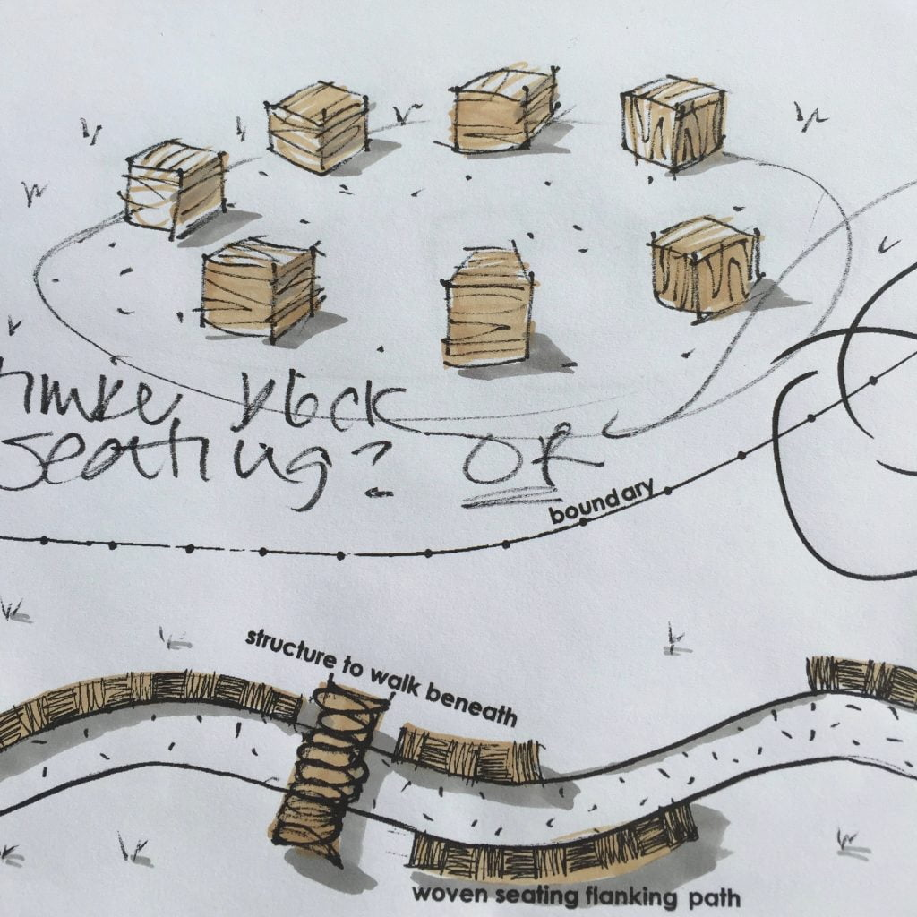 Drawing of oak block garden seating for a woodland garden