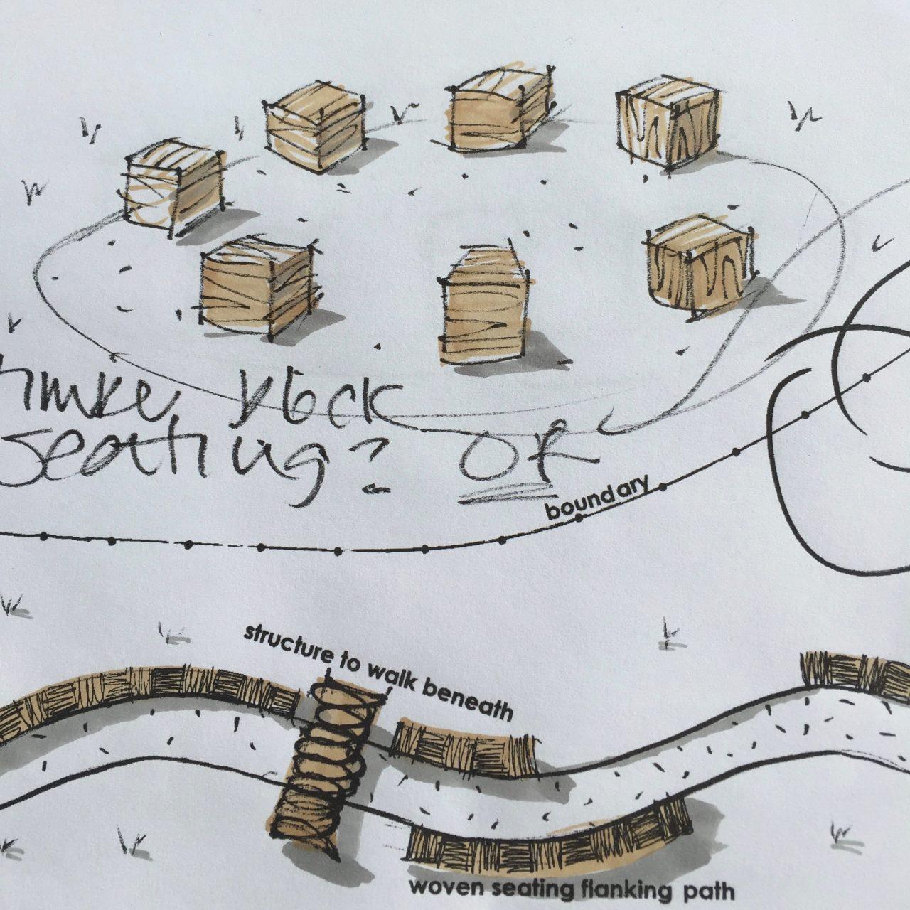 Drawing of oak block garden seating for a woodland garden