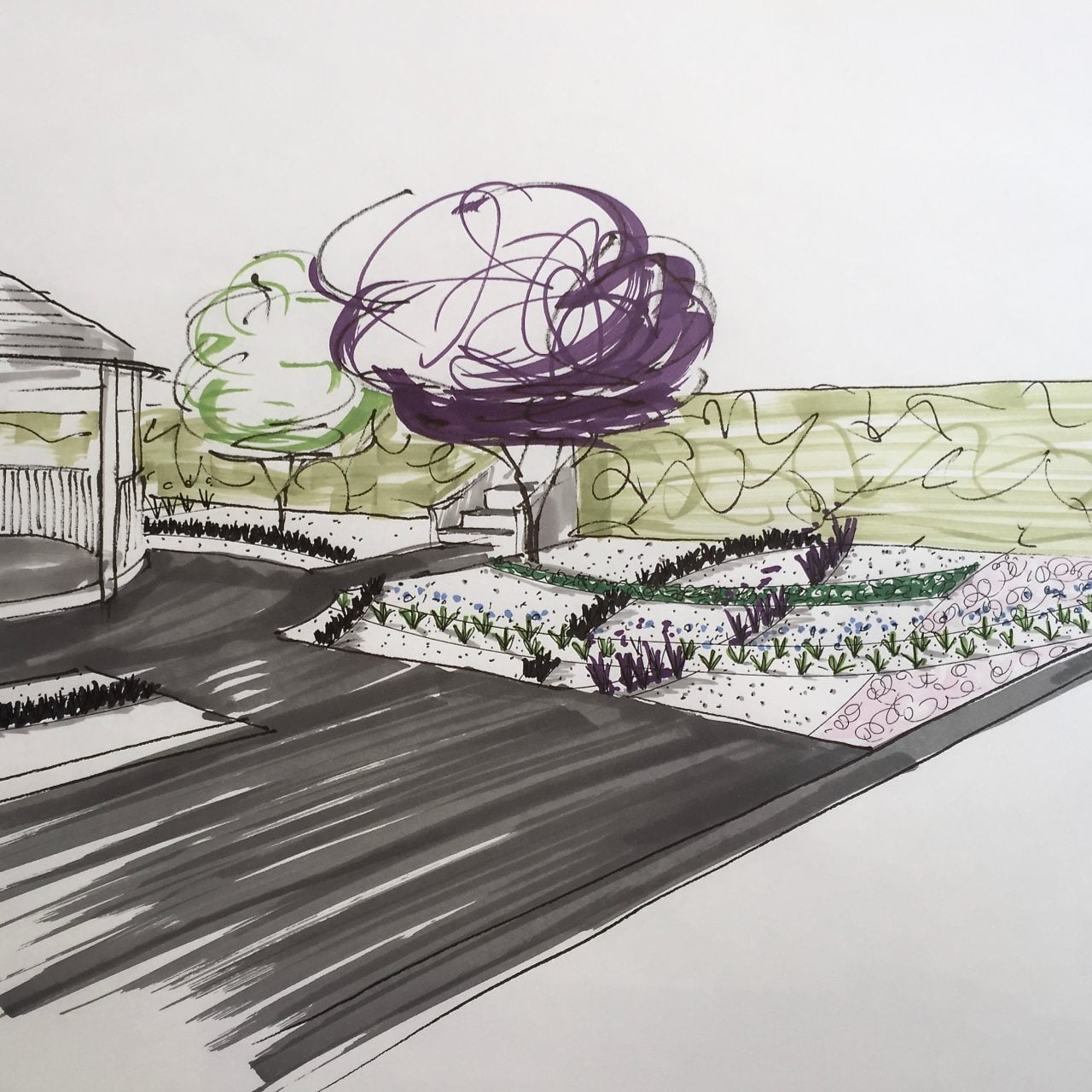 A sketch for a contemporary gravel garden in a small modern garden with a breeze house