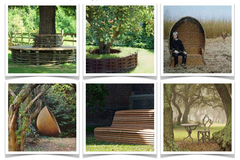 Woven seating ideas for a woodland garden deigned by Jo Alderson Design