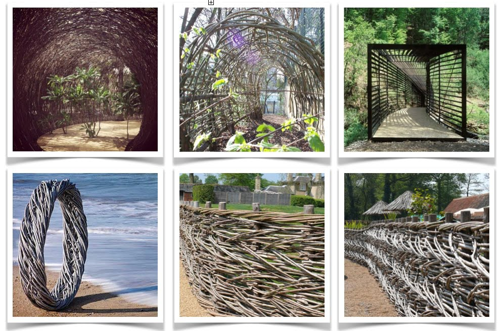 A collection of woven garden sculptures, fences & walkways for a woodland garden by Jo Alderson Design