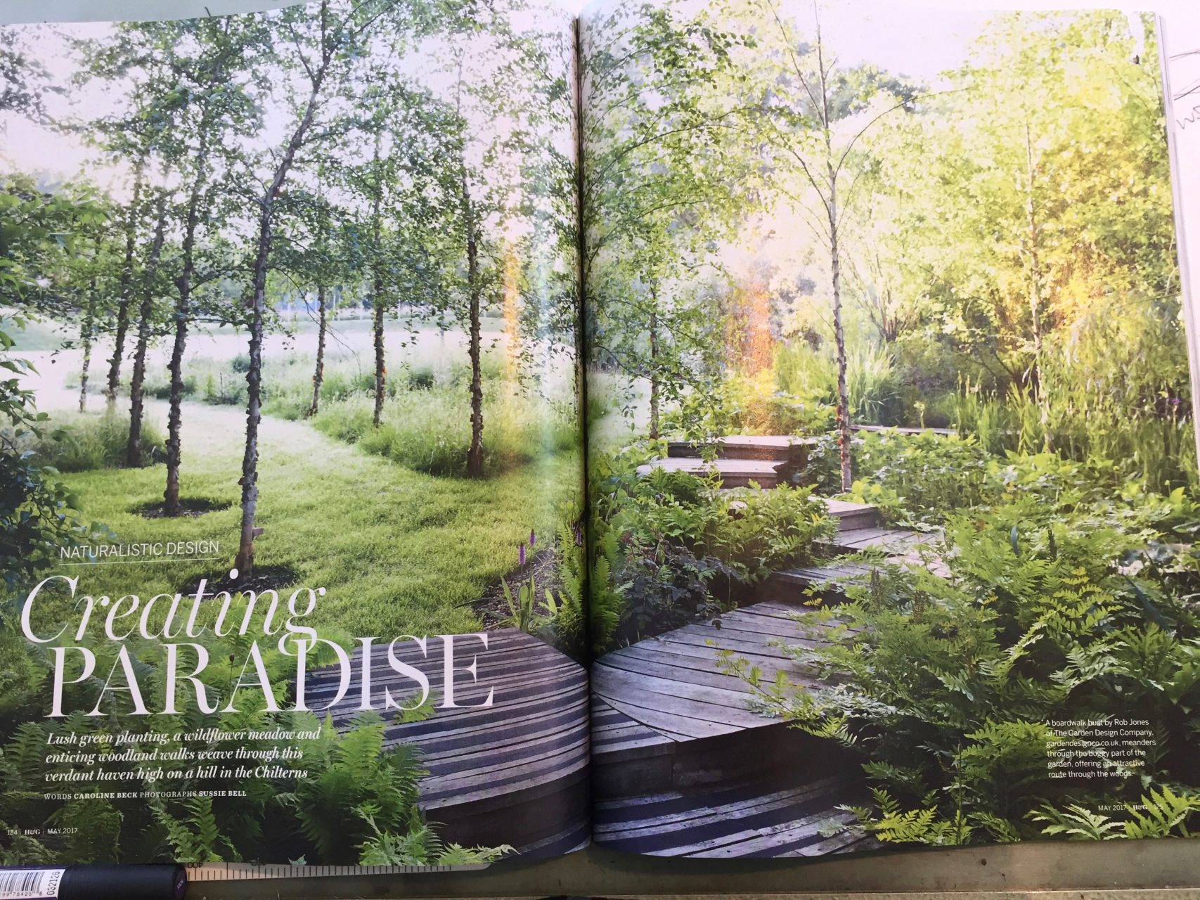 This is the front piece of an article featured in Homes & Gardens Magazine May 2017. It features Orchard House garden